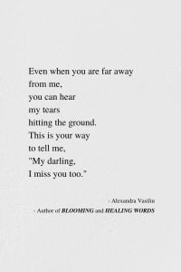 When I Miss You - Inspirational Poem by Alexandra Vasiliu, Author of BLOOMING and HEALING WORDS