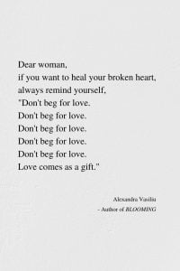 Keep Healing Your Heart's Wounds - Poem by Alexandra Vasiliu, author of BLOOMING