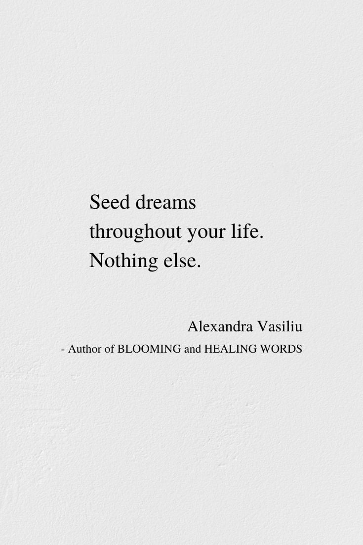 Seed Dreams - Inspirational Poem by Alexandra Vasiliu, Author of BLOOMING and HEALING WORDS