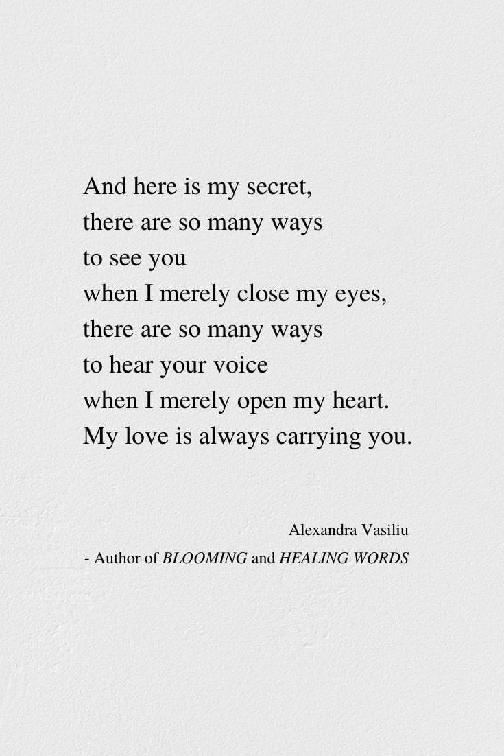 Poem by Alexandra Vasiliu, Author of BLOOMING and HEALING WORDS