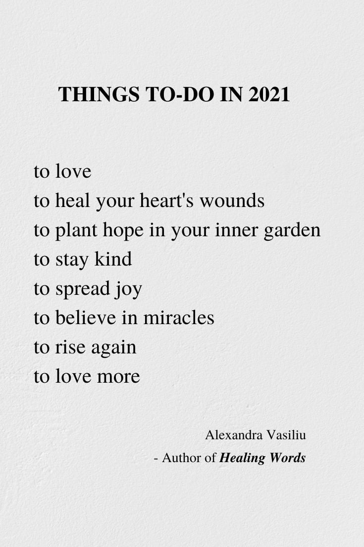 New Year's Resolutions - Poem by Alexandra Vasiliu, Author of HEALING WORDS, BE MY MOON, and BLOOMING